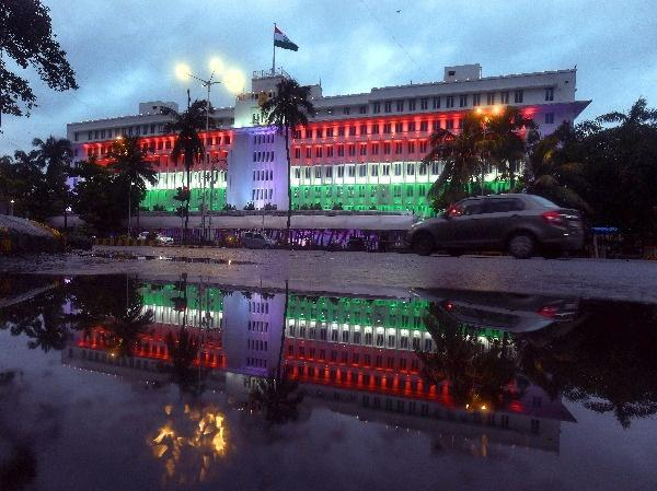 Mantralaya building is illuminated in Tri-colour in for 15th August Independence Day in Mumbai