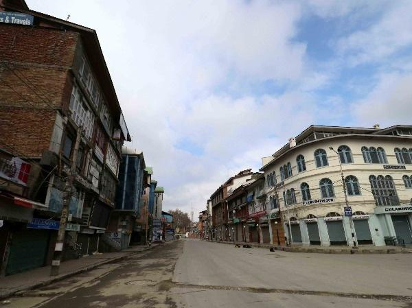 A deserted view of Srinagar after Curfew-like restrictions on the movement and assembly of people were imposed in Kashmir on Sunday.